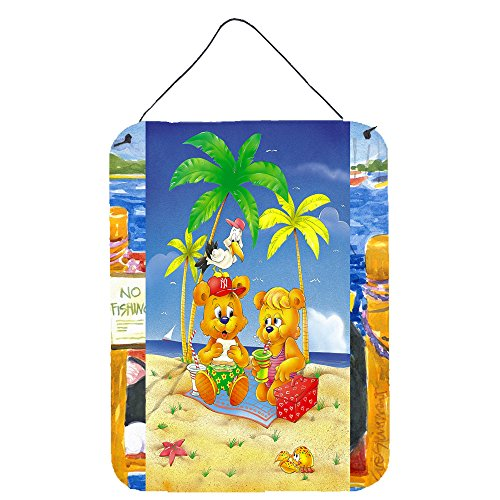 Teddy Bear Hanging - Caroline's Treasures Teddy Bears Picnic on The Beach Wall or Door Hanging Prints APH0239DS1216 16