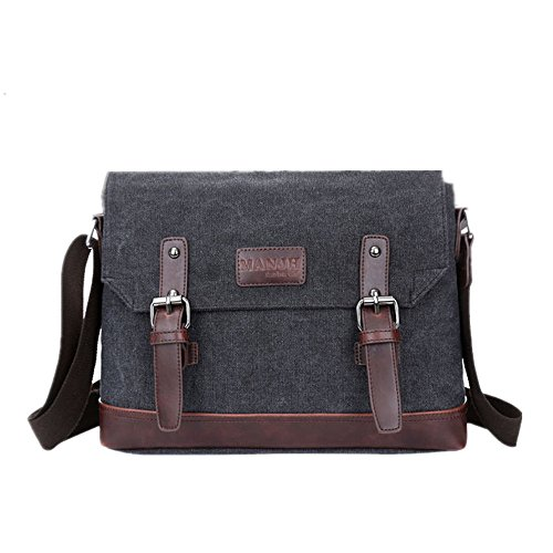 Purse Coffee color Bag Black Bags Man Canvas Shoulder Men's Unisex Travel Casual Work For Messenger Business Crossbody Wenjack UqKfHvS
