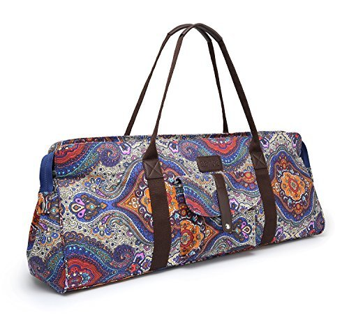 Elenture Large Yoga Mat Duffle Tote Bag Carrier Patterned Canvas Mat Holder