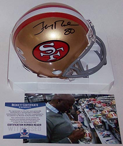- Jerry Rice Autographed Hand Signed San Francisco 49ers Throwback Mini Football Helmet - BAS Beckett Authentication