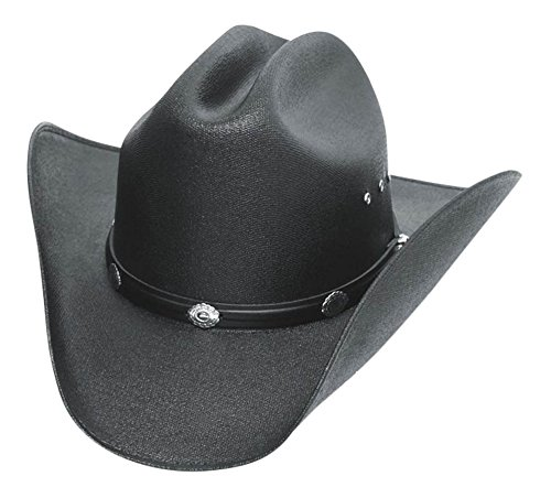 Hard Hat Western - Classic Cattleman Straw Cowboy Hat with Silver Conchos and Elastic Band - Black - S/M