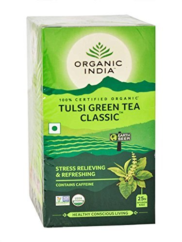Organic India Tulsi Green Tea Classic, 25-Count Teabags (Pack of (6 Organic Green Teas)