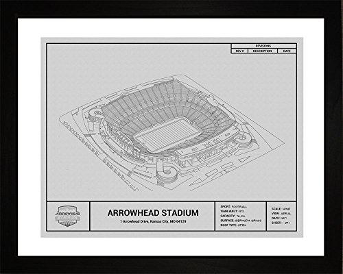 Kansas City Chiefs Arrowhead Stadium Framed Blueprint Wall Art (Stadium Arrowhead Framed)
