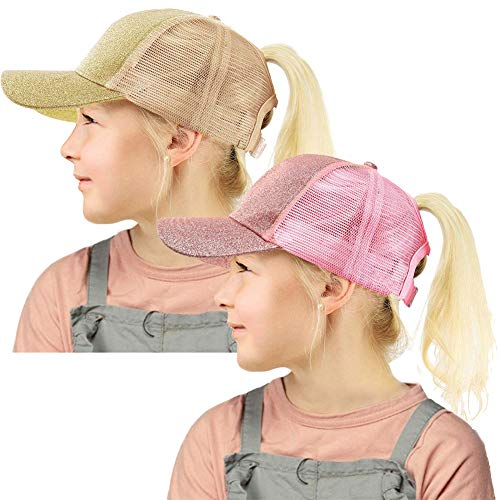 Glitter Ponytail Hat for Kids,Messy High Bun Baseball Ponycaps Sun Visor Caps for Girls Fit Age 2-8