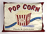 Ambesonne Movie Theater Pillow Sham, Fresh and Delicious Pop Corn Film Tickets and Strip Advertising in 60s Theme, Decorative Standard King Size Printed Pillowcase, 36 X 20 Inches, Multicolor