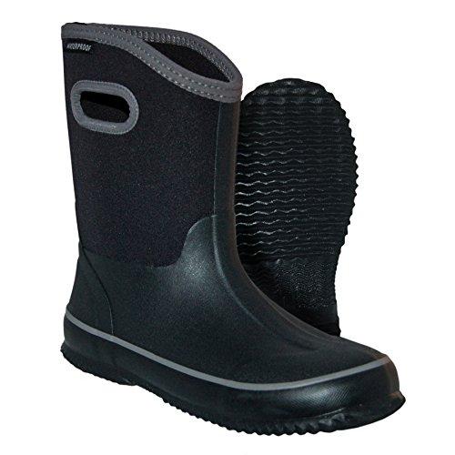 Itasca Unisex Youth Bayou Rubber/Neoprene Waterproof Boots Rain, Black, 5.0 Standard US Width US Big Kid ()