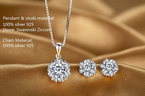 Snowflake Pendant Necklace Swarovski Zircon Jewelry for Women Girls Ideal Christmas Gifts Birthday Gifts for Daughter Granddaughter Girlfriend Mother Wife Best Friend Gifts (Necklace and Studs set) by sassu fine (Image #1)