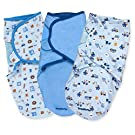 Summer Infant 3 Pack Cotton Knit Swaddleme, Small/Medium, Sports/Transportation/Blue
