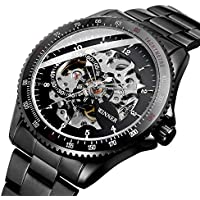 Mens Watch,STONE Skeleton Dail Automatic Watch with Stainless Steel Bracelet Steampunk Analog Wrist Watch