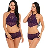 Avidlove Women Lingerie Lace Babydoll Sleepwear Sexy Halter Bra and Panty Set Purple L