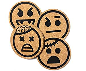 Drink Coaster - Zombies And Vampires Emoji Cork Coasters, Zombie, Monsters & Dracula Themed Set of 4.