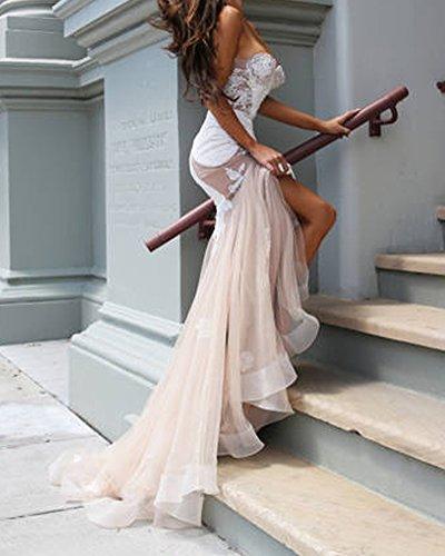 SaiDeng Mujer Maxi Vestido Elegante Cabestro Vestidos Sin Tirantes Vestido De Novia rosa