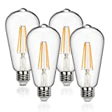 Vintage LED Edison Bulbs 60 Watt Equivalent 6W Dimmable LED Filament Light Bulb 600 Lumen Soft White 2700K ST64 Antique E26 Medium Base for Decorate Bedroom Office 4-Pack by Supmart
