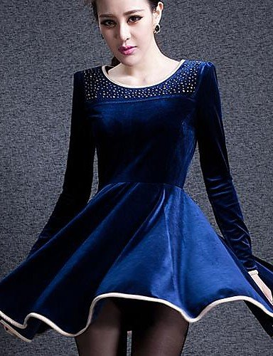 Dark Du Femmes l Aux Coton Lyq Mélanges Au Couleur Robe Tailles Genou Polyester De Blue Col Décontracté Dessus Arrondi Grandes Pleine q1xwxURE7