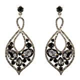 211-GRAY CHARCOAL Fashion Party & Wedding Jewelry Tear Drop Dangle Chandelier Alloy Rhinestone Earrings