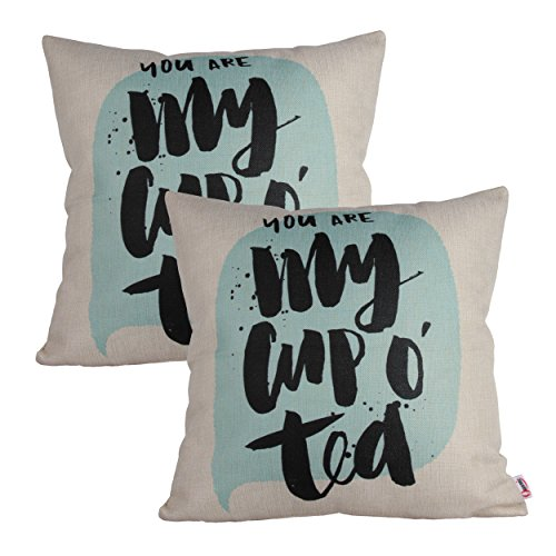 Queenie® - 2 Pcs Meaningful English Writing Inspirational Words Quotable Quotes Cotton Linen Decorative Pillowcase Cushion Cover for Sofa Throw Pillow Case 18 X 18 Inch 45 X 45 Cm (2, My Cup of Tea)