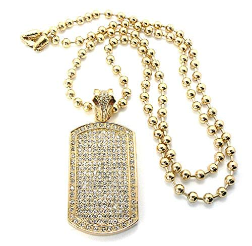 NYFASHION101 Iced Out Dog Tag Pendant 6mm 36