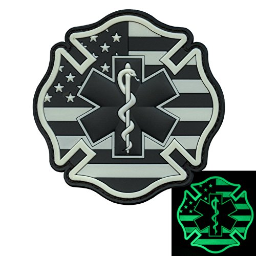 - LEGEEON Glow Dark EMS EMT Fire Fighter Department USA American Flag Rescue Firemen Paramedic Medic Morale PV