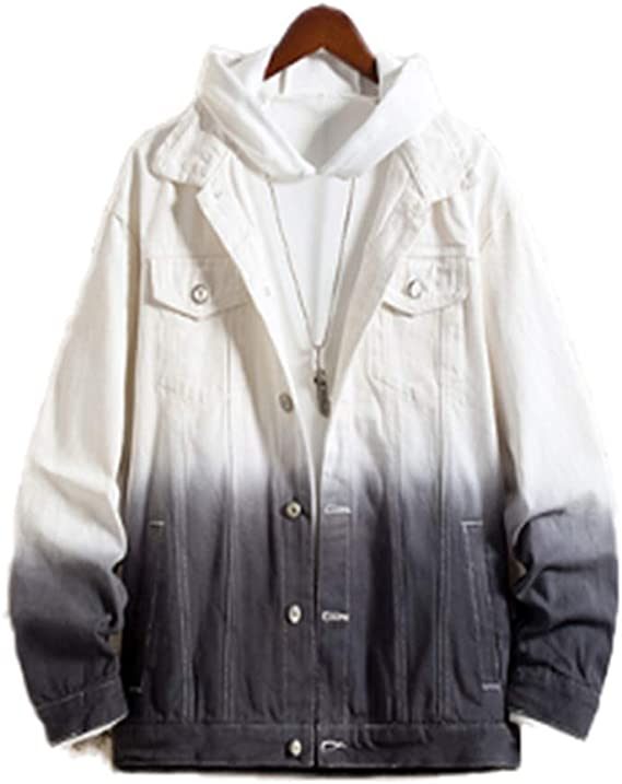 [ユケ二ー] 春 夏 メンズ シンプル グラデーション色 ポケット付き 長袖 潮流 青春 スタイリッシュ 修身 トレンチ コート