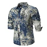 Mens Fashion Shirts Clearance vermers Personality Mens Casual Slim Long Sleeve Printed Button Down Shirt Top Blouse(2XL, Multicolor)