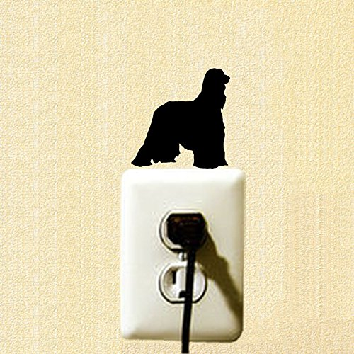 (Afghan Hound Dog Funny Cartoon Switch Sticker Personalized Animal Pet Dog Bedroom Decoration Decal 2SS0783)