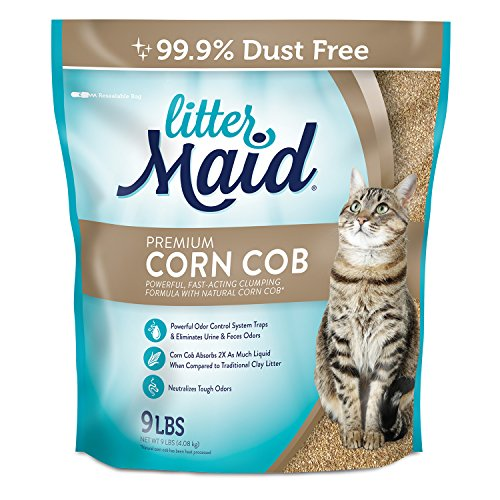 LitterMaid Premium Clumping Corn Cob Litter, 9-Pound - Corn Cob Litter