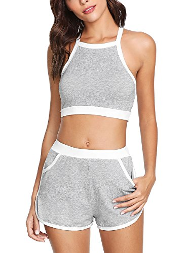 Romwe Women's Sport 2 Pieces Crop Tank Tops with Shorts Activewear Set...