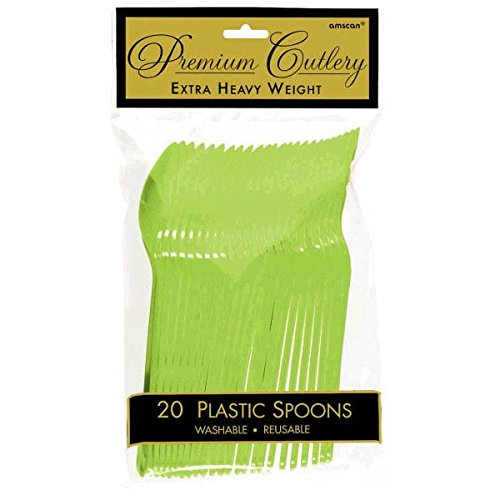 Vibrant Kiwi Green Premium Plastic Spoons, 20 Ct.