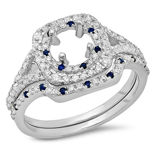 Dazzlingrock Collection 14K Blue Sapphire & White Diamond Ladies Semi Mount Engagement Ring Set 3/4 CT, White Gold, Size 4.5