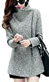 Cruiize Womens Winter Wool-Blend Zip Up Casual Lapel Outerwear Pea Coat Light Gray L