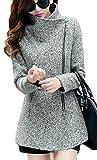 Cruiize Womens Winter Wool-Blend Zip Up Casual Lapel Outerwear Pea Coat Light Gray L