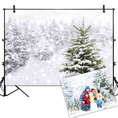 Allenjoy Christmas Backdrop 7x5ft Natural Winter Background for Photography White Snow Tree Home Party Decoration Photo Studio Props