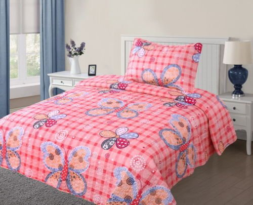 Twin Girl Butterflies #11 Printed Quilt Bedding Bedspread Coverlet Set 2Pc