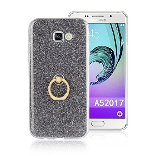 Luxus Bling Sparkle Style Case, Soft TPU [Silikon] Flexible Glitter Back Cover mit Fingerring Stand [Anti Scratch] [Shockproof] für Samsung Galaxy A5 2017 ( Color : White ) Black