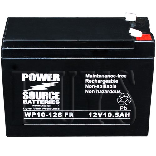 PSH-12100FR, PSH-12100F2 FR, REC10-12, TPH12100 Replacement Battery 12v 10ah Power Source WP10-12S-FR Sealed AGM for UPS Backup Systems, Electric Scooter, Neuton CE5 CE6 Electric Lawn Mower replaces Power Sonic, GS Portalac, Yuasa