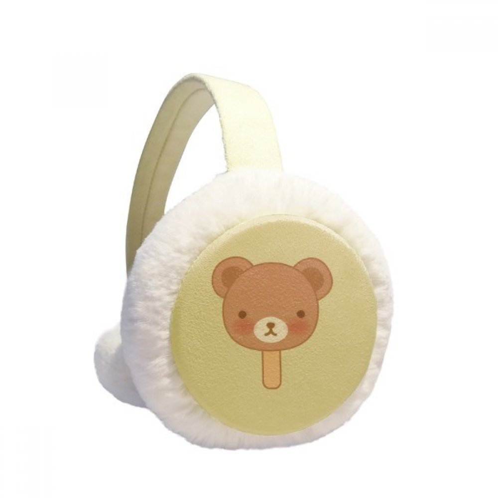 Cartoon Bear Ice Cream Popsicles Winter Earmuffs Ear Warmers Faux Fur Foldable Plush Outdoor Gift