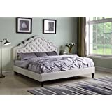 LIFE Home Home Life Premiere Classics Cloth Light Beige Silver Linen 51 Tall Headboard Platform Bed with Slats Full - Complete Bed 5 Year Warranty Included 023