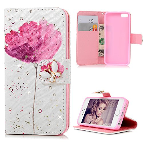 iPhone SE Case,iPhone 5S Case,iPhone 5 Case - Mavis's Diary 3D Handmade Wallet PU Leather with Bling Sparkly Diamonds Elegant Pink Flower with Butterfly Magnetic Clip Card Holders Soft TPU Inner Cover
