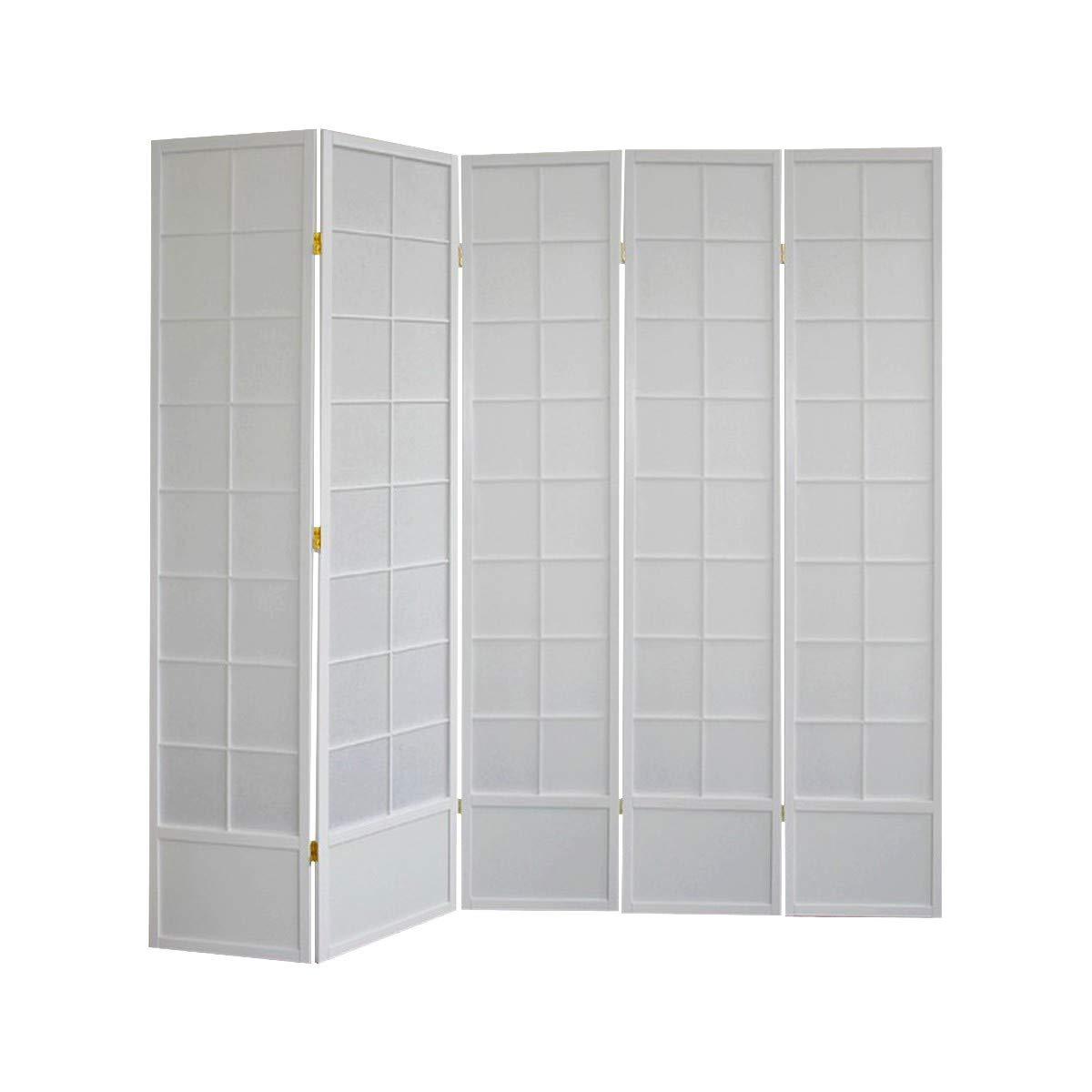 Paravents by Cilios Paravent Hoshi Style 5 - XL Weiß - 5 blickdichte Stellwand mit Shoji Art bespannt, Sondergröße 190 cm hoch dc9a30