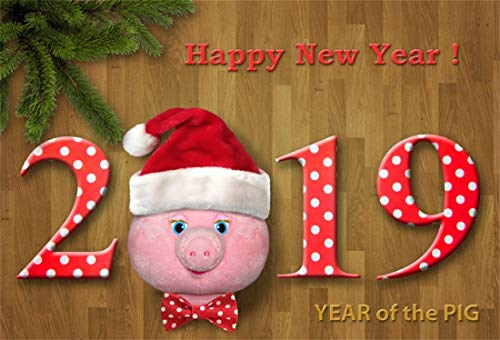 Yeele 6x4ft New Year Photography Background Number 2019 Funny Greeting Card Pine Tree Branch Brown Wooden Floor Happy New Year Toy Pink Pig Photo Backdrops Pictures Photoshoot