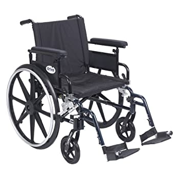 """Drive Medical Viper Plus GT Wheelchair with Flip Back Removable Adjustable Full Arms, Swing away Footrests, 20"""" Seat"""
