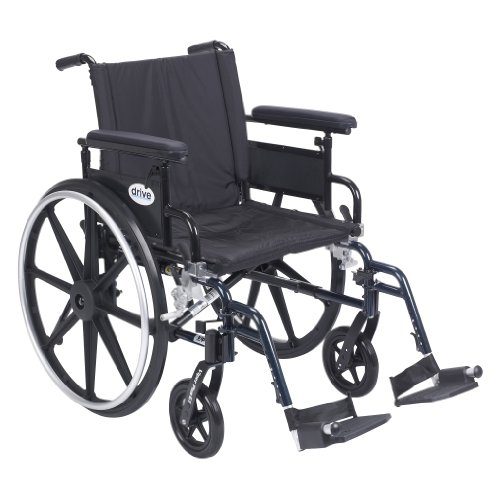 "Drive Medical Viper Plus GT Wheelchair with Flip Back Removable Adjustable Full Arms, Swing Away Footrests, 20"" Seat"
