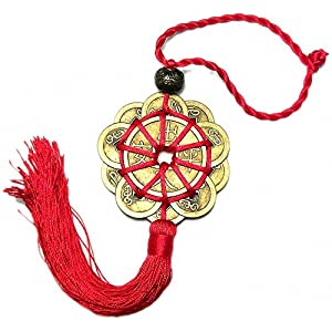 Feng Shui Ruyi Statue+ Free Set of 10 Lucky Charm Ancient Coins on Red String, Chinese Charm of Prosperity Home Decoration Gift,Feng Shui Decor