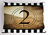 Ambesonne Movie Theater Pillow Sham, Countdown Screen Illustration with Number 2 on Grunge Background, Decorative Standard Size Printed Pillowcase, 26 X 20 inches, Pale Brown Black White