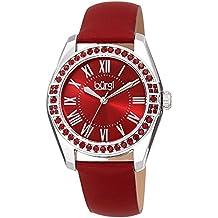 Burgi Women's Watch – Swarovski Crystal Studded Bezel – Skinny Leather Black Strap Colored Edges - Classic Roman Numerals On Sunray Dial – BUR206RD
