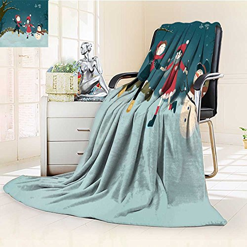 - YOYI-HOME Throw Duplex Printed Blanket Snow Throttle Children Snow Illustration Warm Microfiber All Season Microfiber All Season Blanket for Bed or Couch/59 W by 79