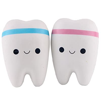 "Lance Home Squishy Slow Rising Teeth, 4.1"" Jumbo Kawaii Smiley Bun, Random Colors, Pack of 2: Toys & Games"