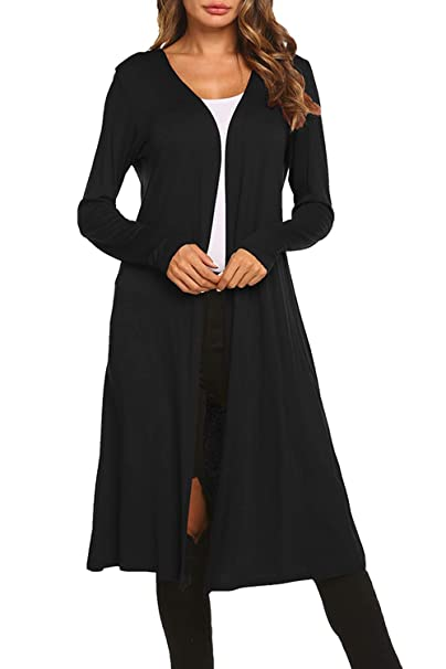 1a1af8795 BLUETIME Women Long Open Front Maxi Cardigan Casual Long Sleeve Soft Cardigan  Sweater (S,