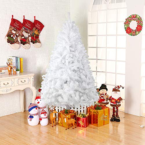Dporticus 7 Foot Eco-Friendly Artificial Christmas Pine Tree with Solid Metal Legs 1500 Tips Full Tree (White) (Dispose Tree Christmas Of)