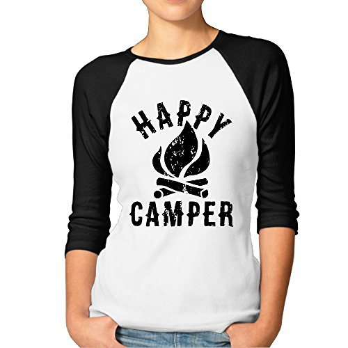 Price comparison product image Happy Camper Womens Funny Baseball 3 / 4 Sleeve Plain Raglan T Shirts